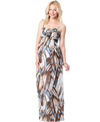 Jessica Simpson Maternity Strapless Printed Maxi Dress - Maternity ...