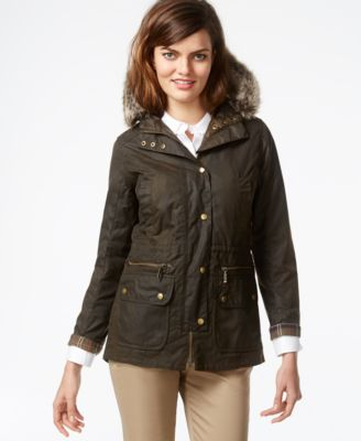 Barbour Faux Fur Parka Jacket - Coats - Women - Macy's