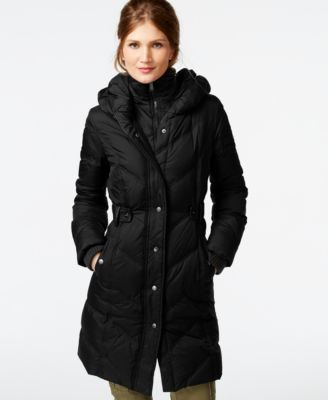 DKNY Faux-Leather-Trim Quilted Down Coat - Coats - Women - Macy's