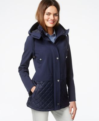 Kenneth Cole Hooded Quilt-Trim Coat - Coats - Women - Macy's : quilted hooded coat - Adamdwight.com
