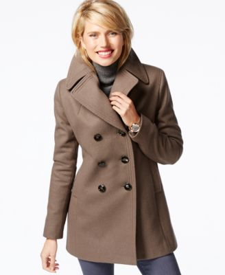 Kenneth Cole Double-Breasted Peacoat - Coats - Women - Macy's