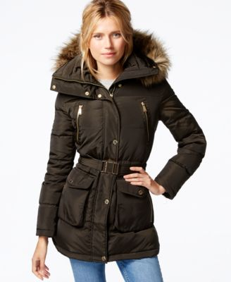 MICHAEL Michael Kors Faux-Fur-Hood Belted Down Puffer Coat - Coats