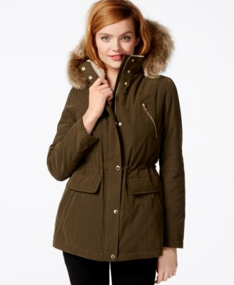 Wildflower Faux-Fur-Trim Hooded Parka - Coats - Women - Macy's