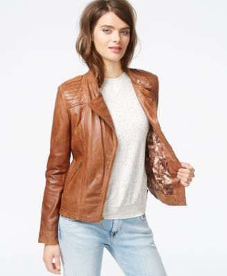 Guess leather moto jacket womens