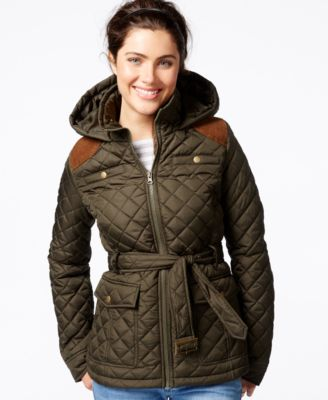 Krush Hooded Belted Quilted Jacket - Coats - Women - Macy's : quilted belted coat - Adamdwight.com