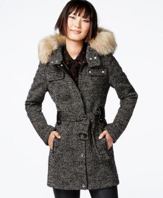 Bar III Faux-Fur-Trim Mixed-Media Coat - Coats - Women - Macy's