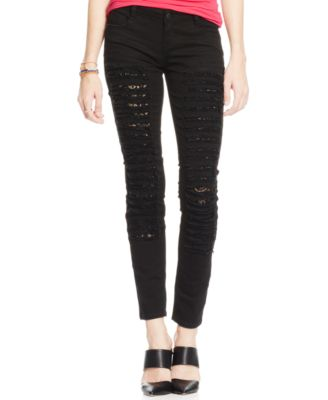 Vanilla Star Juniors' Destroyed Peekaboo Lace Skinny Jeans - Jeans ...