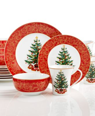 222 Fifth O' Tannenbaum Collection 16-Piece Set - Dinnerware ...