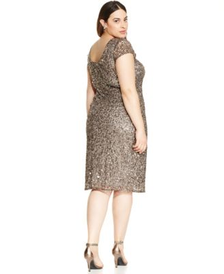 Adrianna Papell Plus Size Sequined Scoop-Back Dress - Dresses ...