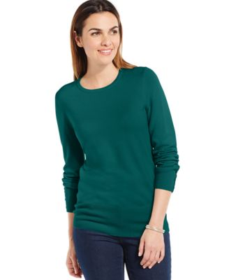 Image of JM Collection Crew-Neck Solid Button-Sleeve Sweater