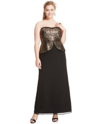 City Chic Plus Size Strapless Sequined Peplum Gown - Dresses ...