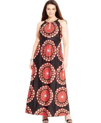 INC International Concepts Plus Size Printed Keyhole Maxi Dress ...