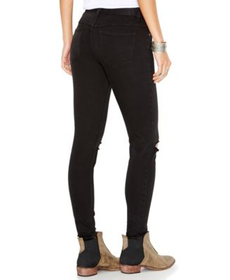 Free People Destroyed Skinny Jeans, Black Wash - Jeans - Women ...