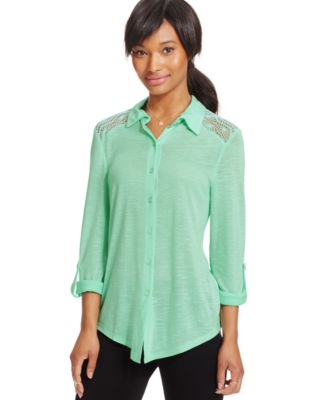 At Last Juniors' Button-Down Shirt - Tops - Juniors - Macy's