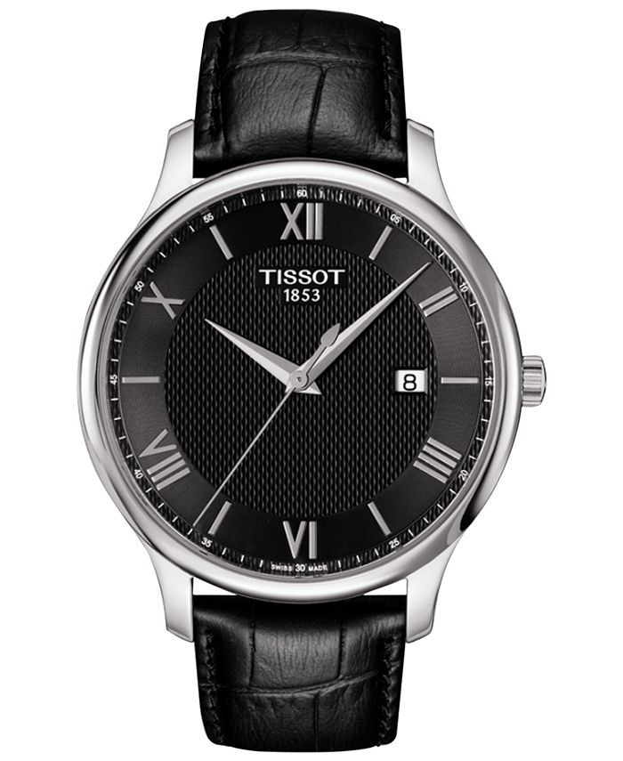Tissot - Men's Swiss Tradition Black Leather Strap Watch 42mm T0636101605800