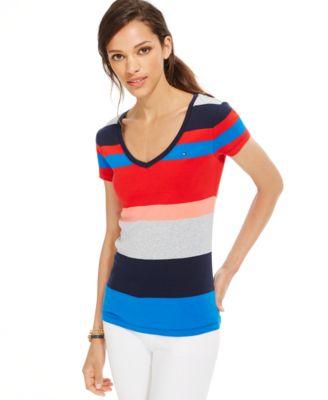e7c90630 Tommy Hilfiger Flag Striped Boat-Neck Top - Women's Brands - Women ...