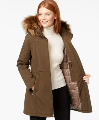 Calvin Klein Faux-Fur-Trim Hooded Softshell Jacket - Coats - Women ...