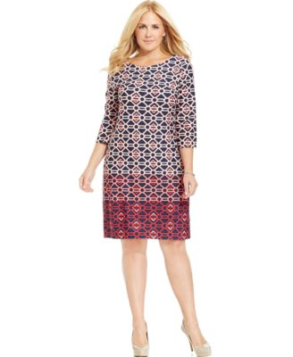 charter club plus size printed shift dress - dresses - plus sizes