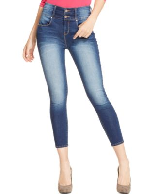 Tinseltown Juniors' High-Waisted Color Capri Skinny Jeans - Jeans ...