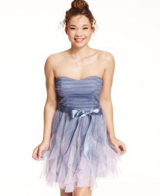Teeze Me Juniors' Rhinestone A-Line Dress - Dresses - Juniors - Macy's