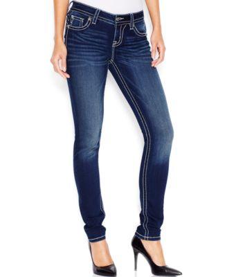 Miss Me Embellished Skinny Jeans, Dark Blue Wash - Jeans - Women ...