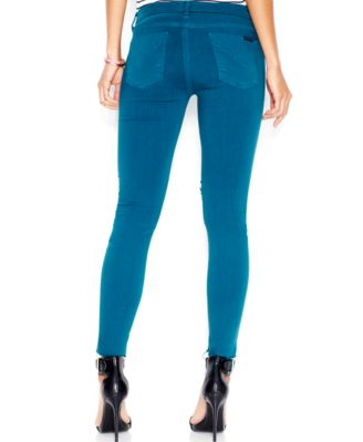 Hudson Jeans Raw-Hem Distressed Skinny Jeans, Dark Turquoise Wash ...