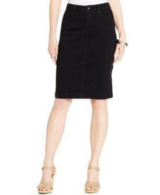 Style & Co. Denim Tummy Skirt, Bright White Wash - Skirts - Women ...