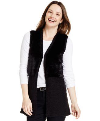 Style & Co. Faux-Fur Vest - Sweaters - Women - Macy's