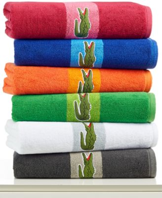 Image of Lacoste Signature Logo Bath Towel, 100% Terry Cotton
