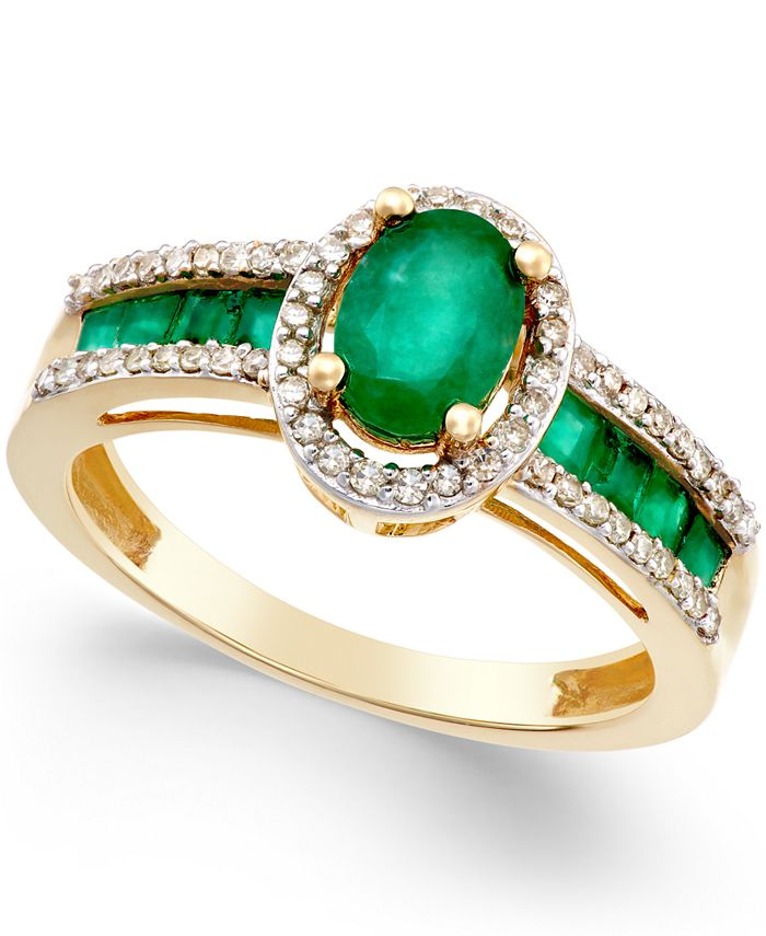 Macy's - Emerald (1-1/3 ct. t.w.) and Diamond (1/4 ct. t.w.) Ring in 14k Gold (Also in Sapphire & Certified Ruby)