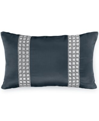 "INC International Concepts Rizzoli Midnight 12"" x 20"" Embroidered Squares Decorative Pillow, Only at Macy's"