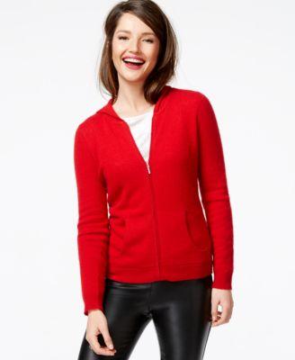 Charter Club Cashmere Zip-Front Hoodie - Sweaters - Women - Macy's