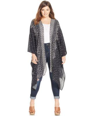 Harper and Liv Plus Size Printed Maxi Kimono Cardigan - Tops ...