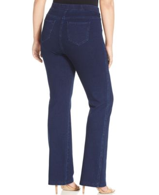 Plus size pull on bootcut jeans
