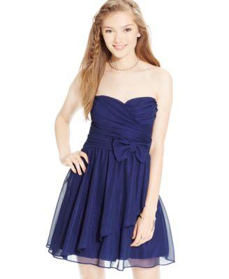 Teeze Me Juniors' Strapless Sweetheart Dress - Dresses - Juniors ...