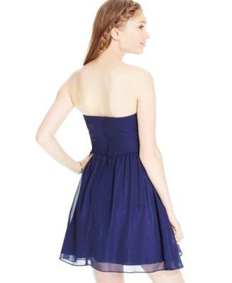 B Darlin Juniors' Strapless Metallic Dress - Dresses - Juniors ...