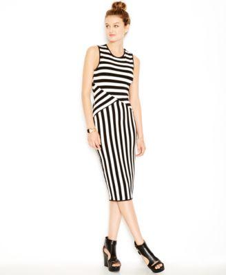 Bar III Mixed-Stripe Midi Bodycon Dress - Dresses - Women - Macy\'s