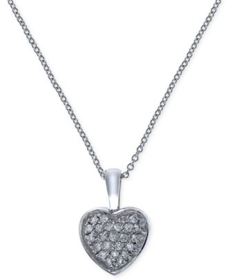 EFFY Diamond Heart Pendant Necklace (1/5 ct. t.w.) in 14k White Gold