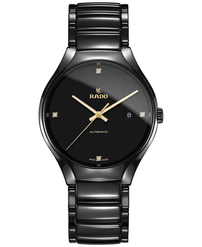 Rado - Men's Swiss Automatic True Black Diamond Accent Ceramic Bracelet Watch 40mm R27056712