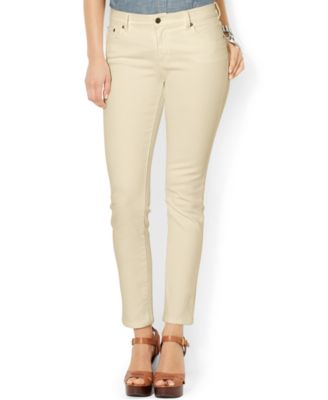 Lauren Ralph Lauren Stretch Straight-Leg Jeans Desert Tan Wash