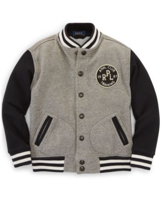 Ralph Lauren Little Boys' Weathered Fleece Baseball Jacket - Kids ...