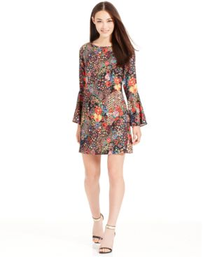 Eci Bell-Sleeve Floral-Print Mini Dress