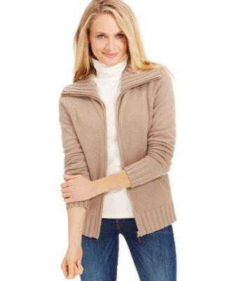 Karen Scott Zip-Front Sweater Cardigan - Sweaters - Women - Macy's