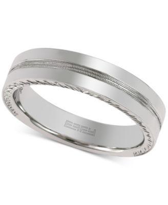 Effy Men S Etched Wedding Band In 18k White Gold