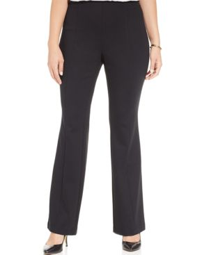Inc International Concepts Plus Size Pull-On Ponte Bootcut Pants