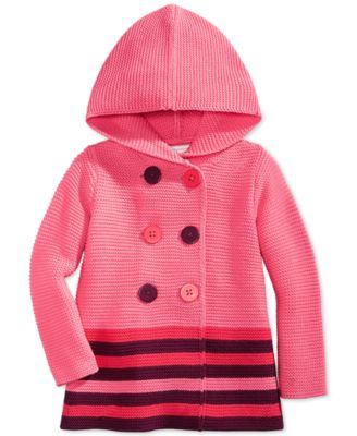 First Impressions Baby Girls' Striped Double-Breasted Sweater ...