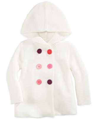 First Impressions Baby Girls' Button-Front Hooded Sweater, Only at ...