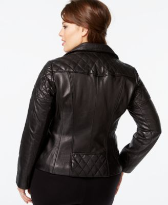 MICHAEL Michael Kors Plus Size Leather Moto Jacket - Coats - Women ...