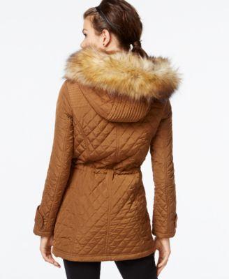 Bar III Faux-Fur-Trim Quilted Anorak - Coats - Women - Macy's : quilted anorak - Adamdwight.com