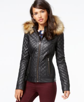 Bar III Faux-Fur-Trim Quilted Faux-Leather Jacket - Coats - Women ...